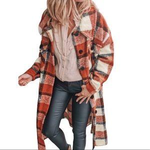 New! Women's Orange Plaid Long Shacket